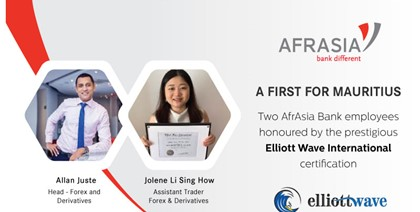 A first for Mauritius – Two AfrAsia Bank employees honoured by the prestigious Elliott Wave International certification